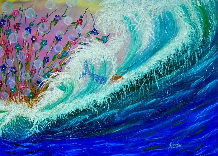 Ocean Greeting Card featuring the painting Sea Fantasy by Kathern Welsh