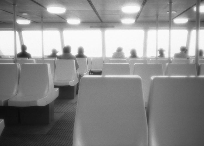 Abstract Greeting Card featuring the photograph Sea Ferry Ride by Lyle Crump