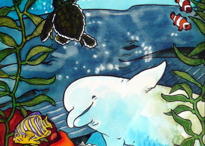 Whale Greeting Card featuring the painting Sea Fun by Jill Iversen