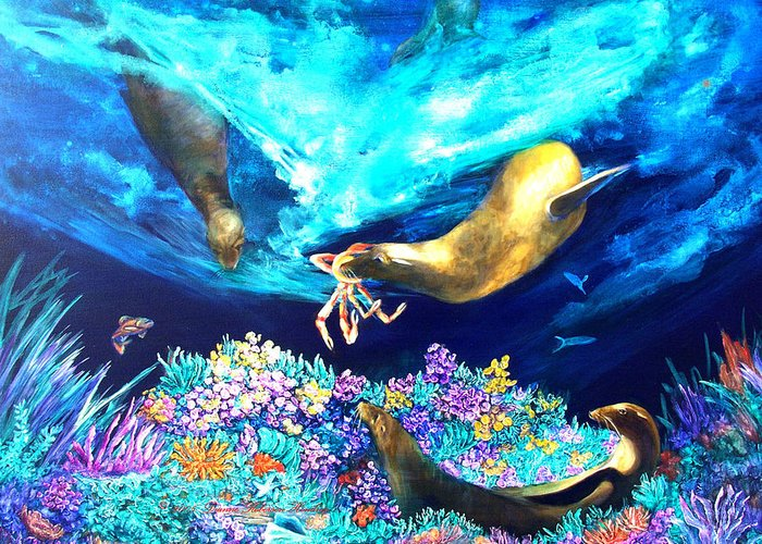Ocean Greeting Card featuring the painting Sea Garden by Dianne Roberson