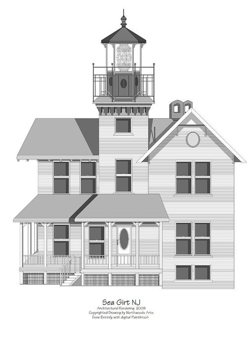 Lighthouse Greeting Card featuring the painting Sea Girt New Jersey Architectural Drawing by Anne Norskog