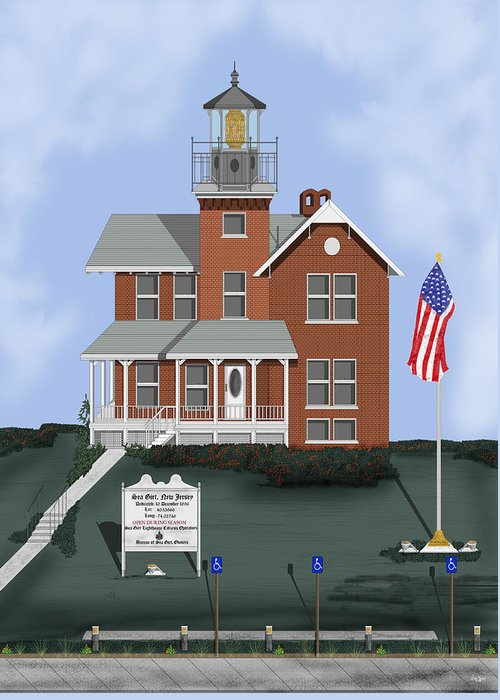 Lighthouse Greeting Card featuring the painting Sea Girt New Jersey by Anne Norskog