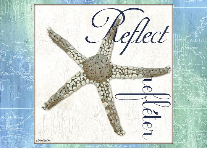 Starfish Greeting Card featuring the painting Sea Glass 3 by Debbie DeWitt