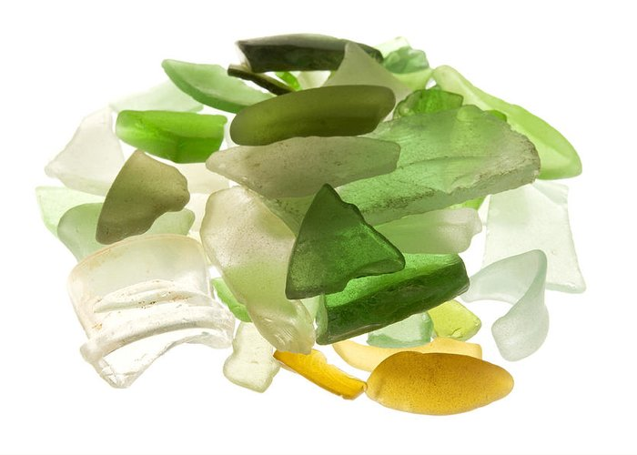 White Background Greeting Card featuring the photograph Sea Glass by Fabrizio Troiani