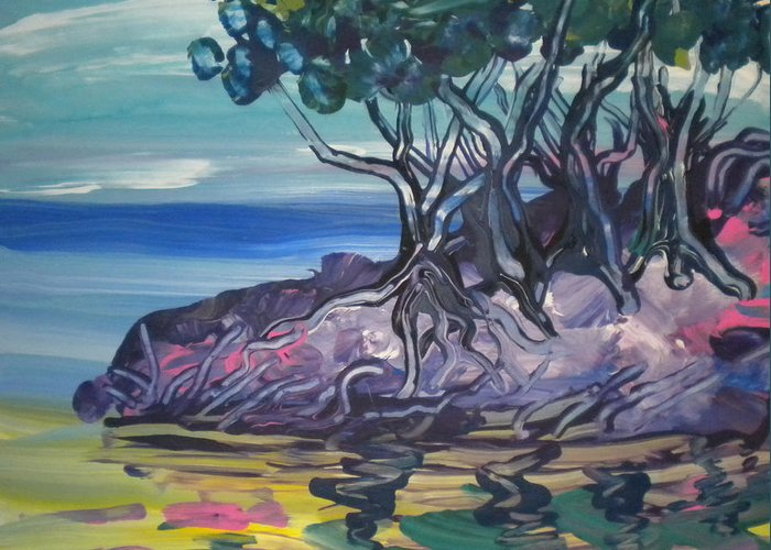 Alzheimer's Greeting Card featuring the painting Sea Grapes By Lois by Art Without Boundaries