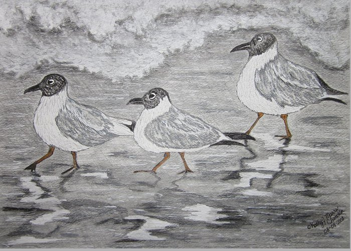 Sea Gulls Greeting Card featuring the painting Sea Gulls Dodging The Ocean Waves by Kathy Marrs Chandler