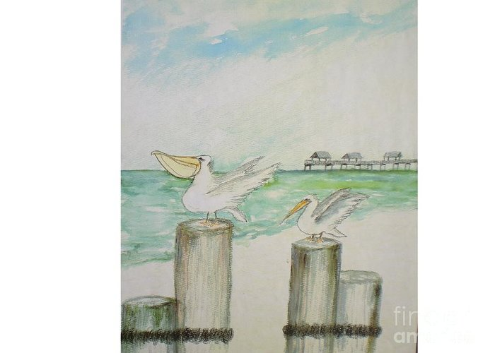 Seascape Greeting Card featuring the painting Sea Gulls by Hal Newhouser