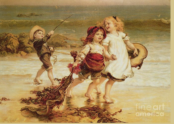 Sea Greeting Card featuring the painting Sea Horses by Frederick Morgan