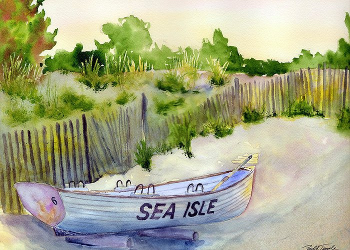 Seascape Greeting Card featuring the painting Sea Isle Rescue Boat by Paul Temple