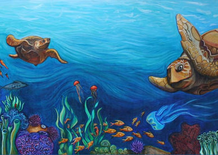 Sea Greeting Card featuring the painting Sea Life by Kate Fortin