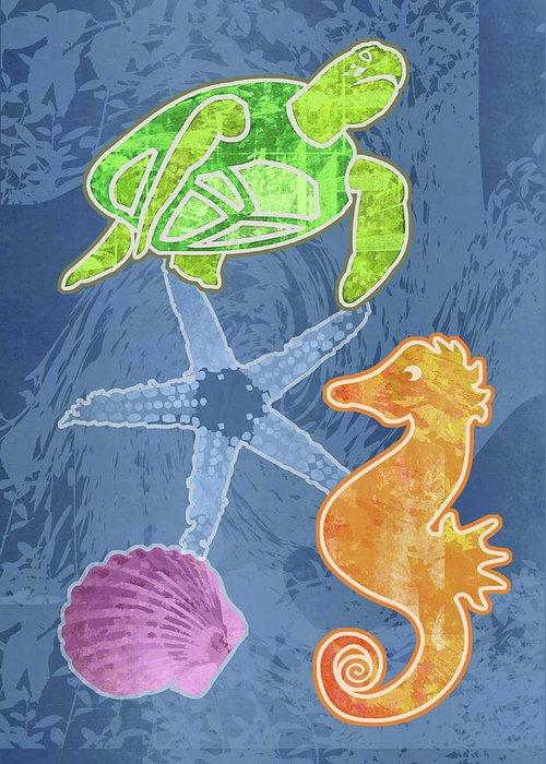 Mary Ogle Greeting Card featuring the digital art Sea Life by Mary Ogle