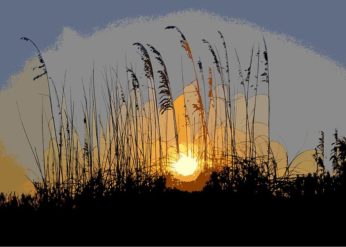 Sea Oats Greeting Card featuring the painting Sea Oats At Sunset by David Lee Thompson