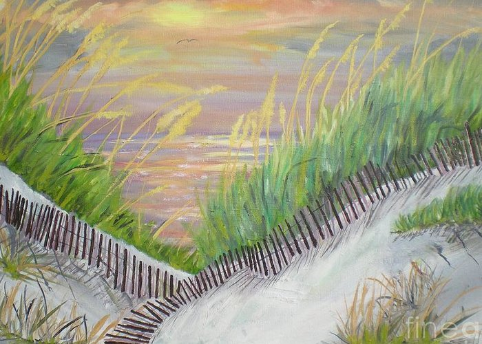 Seascape Greeting Card featuring the painting Sea Oats by Hal Newhouser
