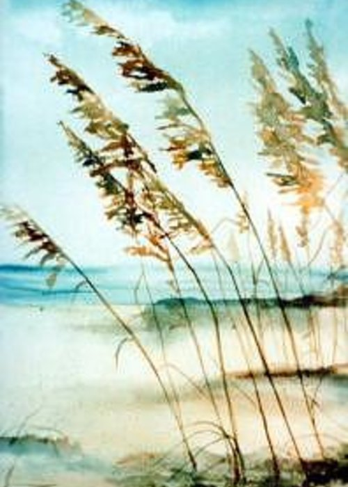 Beach Flower Greeting Card featuring the painting Sea Oats by Helen Hickey