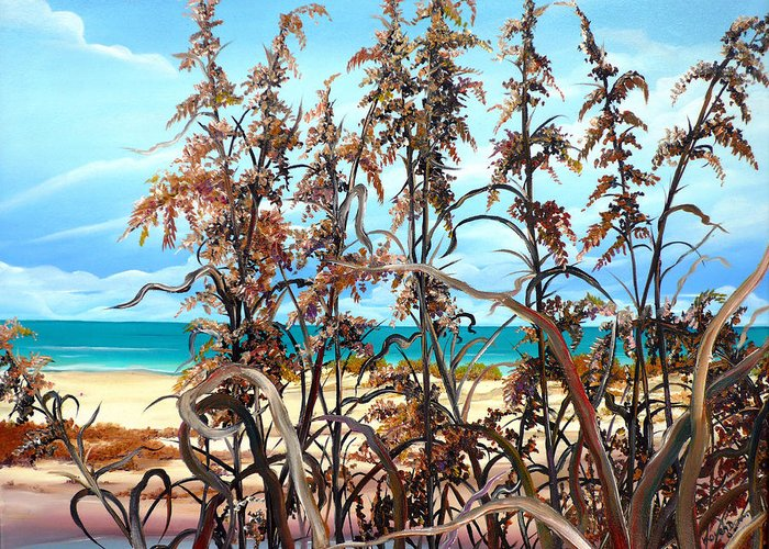 Ocean Painting Sea Oats Painting Beach Painting Seascape Painting Beach Painting Florida Painting Greeting Card Painting Greeting Card featuring the painting Sea Oats by Karin Dawn Kelshall- Best