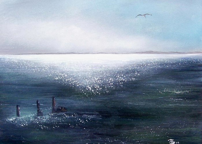 Seascape Greeting Card featuring the painting Sea of Glass by Tony Rodriguez