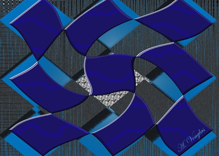 Squares Greeting Card featuring the digital art Sea Ripples by Amanda Vouglas