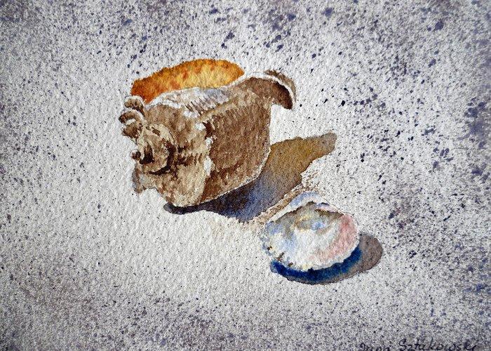 Sea Shells Greeting Card featuring the painting Sea Shells by Irina Sztukowski
