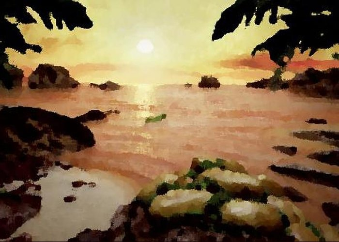 Landscape.coast.shore.trees.stones.sand.water.sunset Reflection.silence.rest.sun.sky. Greeting Card featuring the digital art Sea Shore.sunset by Dr Loifer Vladimir