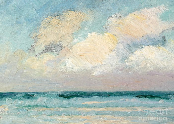 Seascape Greeting Card featuring the painting Sea Study - Morning by AS Stokes