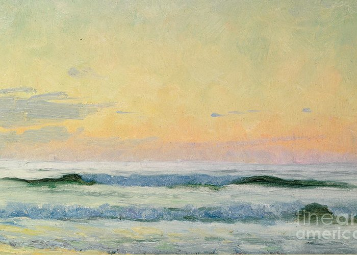 Seascape Greeting Card featuring the painting Sea Study by AS Stokes