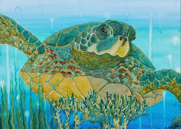 Green Greeting Card featuring the painting Sea Turtle by Simone Germain