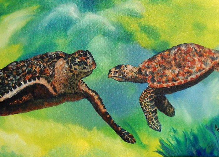 Ocean Greeting Card featuring the painting Sea Turtles And Dolphins by Susan Kubes