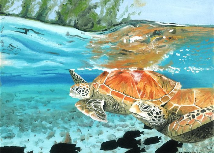 Sea Turtles Greeting Card featuring the painting Sea Turtles by Chris Wiese