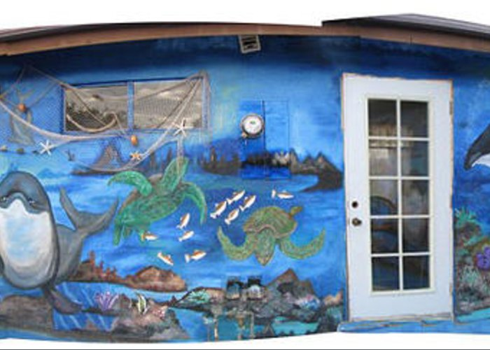 Mural Greeting Card featuring the painting Sea Wall by Mikki Alhart