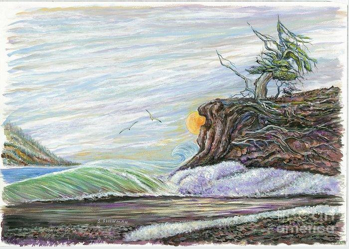 Sea Scape Greeting Card featuring the painting Sea Waves With Clouds And Gulls by Samuel Showman