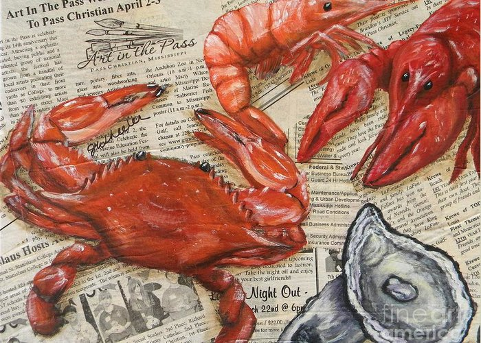 Crawfish Greeting Card featuring the painting Seafood Special Edition by JoAnn Wheeler