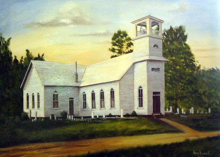 Church Greeting Card featuring the painting Seaford Zion Methodist Church by Anne Kushnick