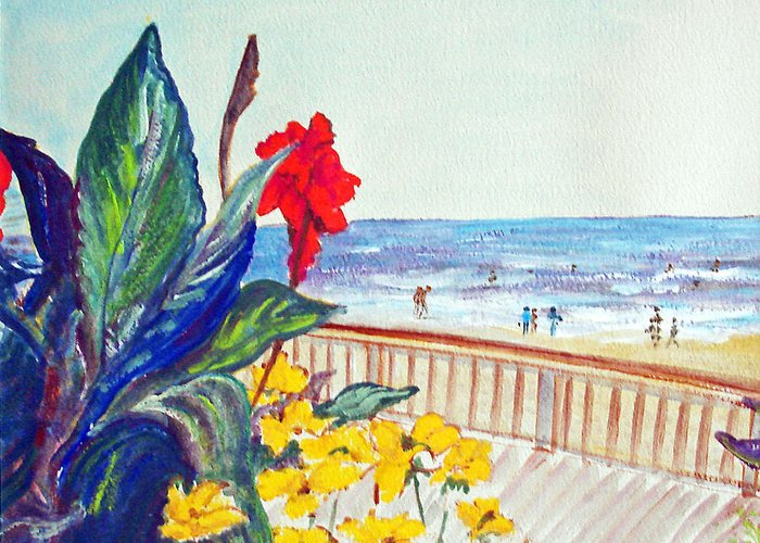 Seascape Greeting Card featuring the painting Seafront by Aymeric NOA