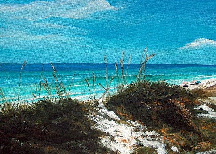 Seagrove Beach Greeting Card featuring the painting Seagrove Beach Florida by Racquel Morgan