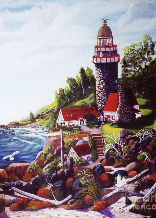 Landscape Greeting Card featuring the painting Seagull Cove And Lighthouse by Myrna Walsh