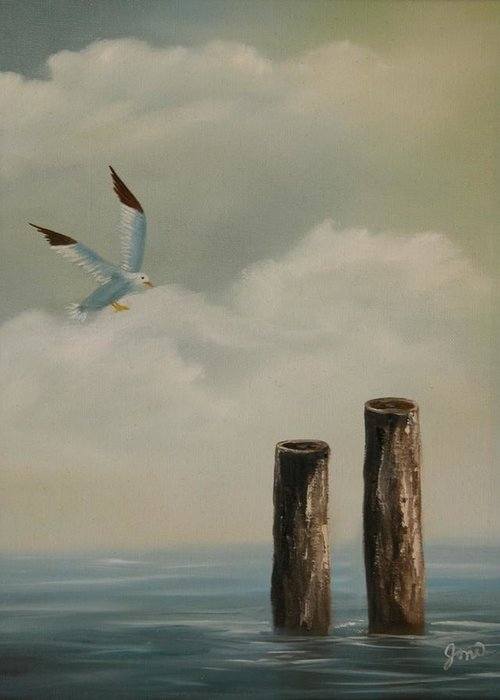 Seascape Greeting Card featuring the painting Seagull Landing by Joni McPherson