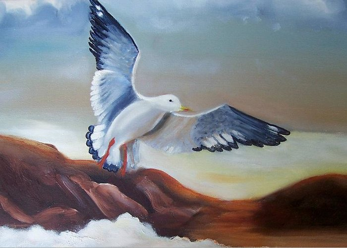 Birds Greeting Card featuring the painting Seagull Landing by Martha Mullins