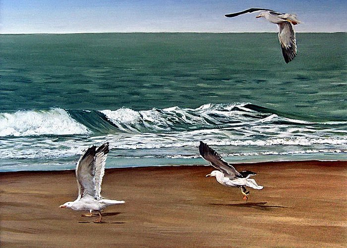 Seascape Greeting Card featuring the painting Seagulls 2 by Natalia Tejera