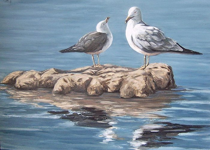 Seagulls Sea Seascape Water Bird Greeting Card featuring the painting Seagulls In The Sea by Natalia Tejera