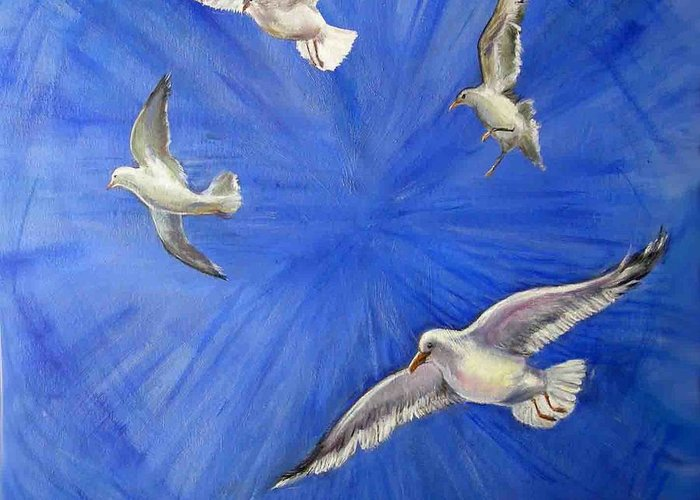 Birds Greeting Card featuring the painting Seagulls by Olga Kaczmar