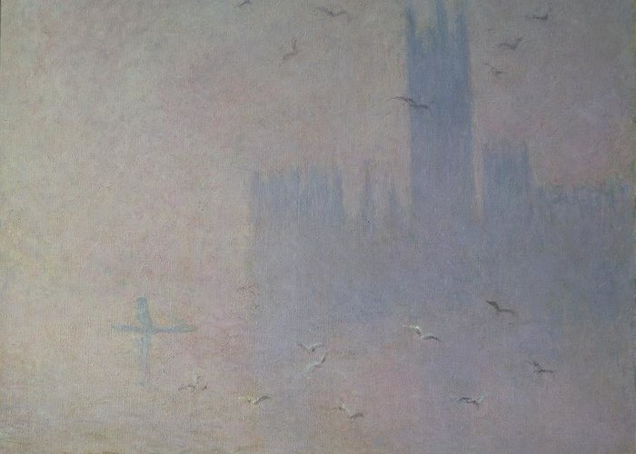 Claude Greeting Card featuring the painting Seagulls Over The Houses Of Parliament by Claude Monet