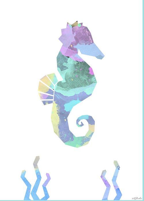 Digital Watcolour Greeting Card featuring the digital art Seahorse Watercolour by Kris Sheather