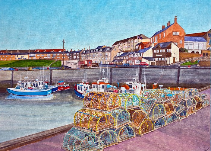 Harbour Greeting Card featuring the painting Seahouses IIi by Francis Robson
