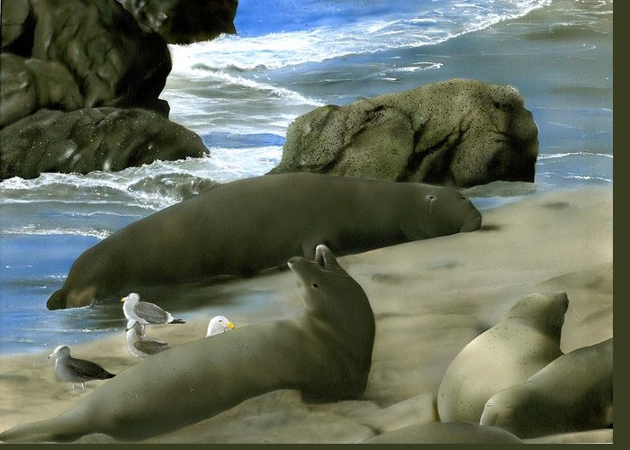Elephant Seals Greeting Card featuring the painting Seal Rock by Charles Parks