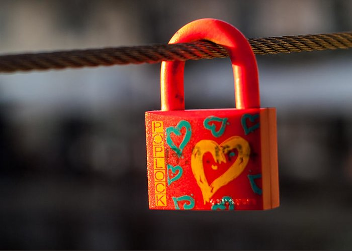Lock Greeting Card featuring the photograph Sealed Love by Davorin Mance