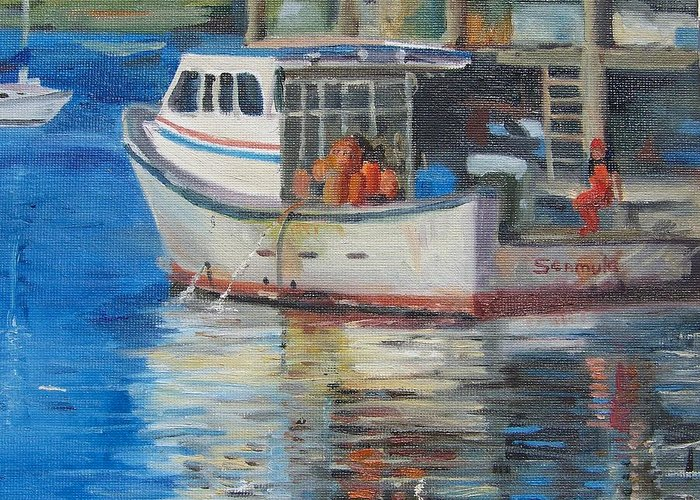 Boating Scene Greeting Card featuring the painting Seamule by Georgeanne Wayman
