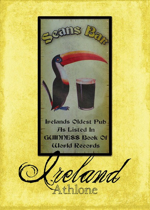 Irish Greeting Card featuring the photograph Seans Bar Guinness Pub Sign Athlone Ireland by Teresa Mucha