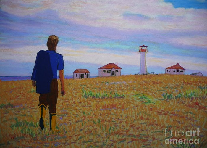 Lighthouses Greeting Card featuring the pastel Sean's Visit To Cross Island Lighthouse by Rae Smith