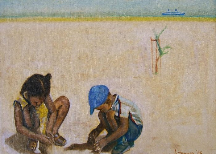 Children At The Beach Greeting Card featuring the painting Searching For Treasure by Howard Stroman