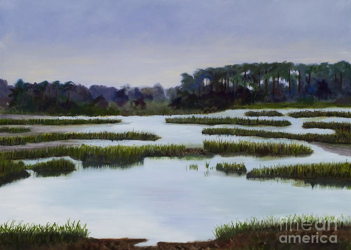 Marsh Scene Award Winning Greeting Card featuring the painting Searching Savannah Marsh By Marilyn Nolan- Johnson by Marilyn Nolan-Johnson